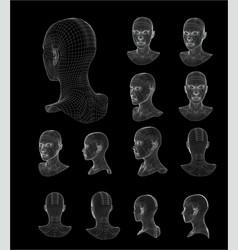 Wireframe head 3d model vector