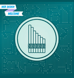 xylophone icon on a green background with arrows vector image