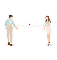 young couple wear face mask with coffee walk vector image