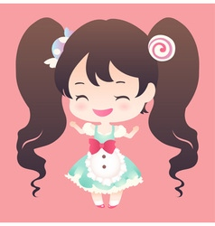 cute sweet happy smile brown hair and twin tail vector image vector image