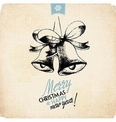Retro Vintage Hand Drawn Christmas Greeting Card vector image vector image