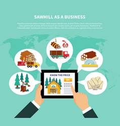 sawmill as a business composition vector image