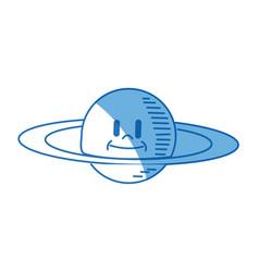 cartoon planet saturn galaxy icon vector image