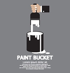 Paint Bucket With Paintbrush In Hand vector image
