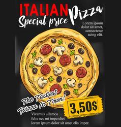 pizza chalkboard poster for fast food design vector image