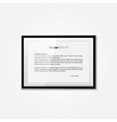 Realistic blank frame on a white background EPS10 vector image vector image