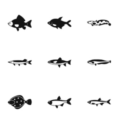 River fish icons set simple style vector image vector image