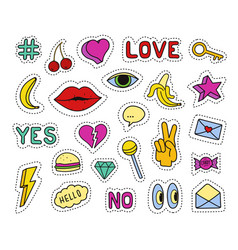 set of fashion patches different badges and pins vector image vector image