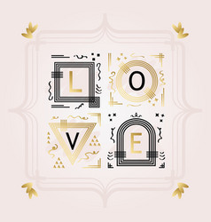 black and golden abstract word love frame emblems vector image