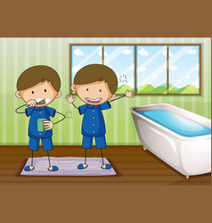 boys brushing and cleaning in bathroom vector image vector image