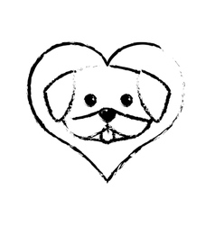 dog cute tongue out love sketch vector image vector image