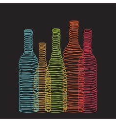 Isolated abstract spiral wine bottles vector image