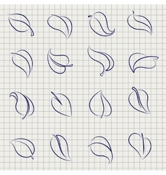 Outline sketch leaves set vector image
