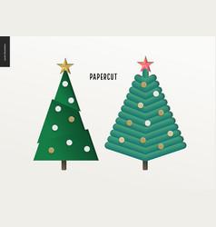 papercut - christmas trees set vector image vector image