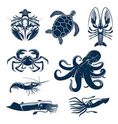 seafood marine animal icon set for food design vector image vector image