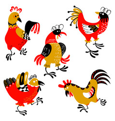 set with decorative roosters isolated farm pets vector image vector image