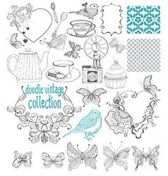Vintage doodle elements - pattern flower butterfly vector image vector image