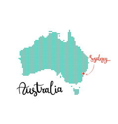 Australia map dotted sydney capital of australia vector
