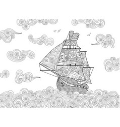 contour image of sailing ship on the wave in vector image