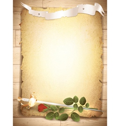 red rose and sword vector image vector image