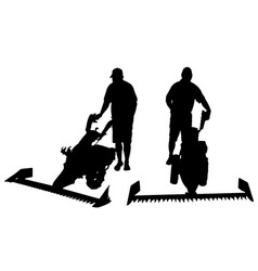 set of different people with mowers vector image vector image