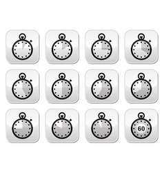 Time clock stopwatch buttons set vector image vector image
