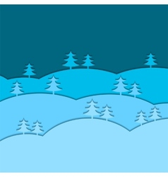Winter background with fir trees vector image