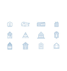 12 tiny house icons vector