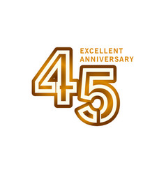 45 years excellent anniversary template design vector
