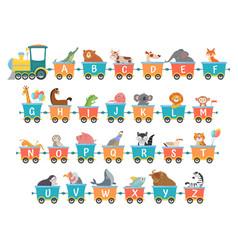 Alphabet train with animals cartoon animal vector