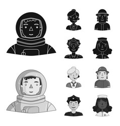 An astronaut in a spacesuit a co-worker with a vector
