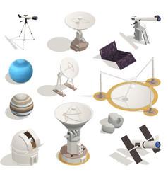 Astronomy isometric icons set vector