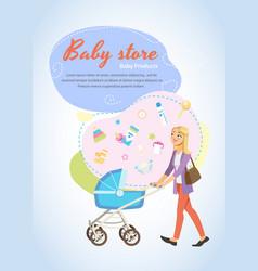 Baby store vertical cartoon poster or flyer vector