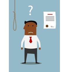 Bancrupt businessman thinking about debt noose vector