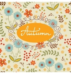 Beautiful autumn card with seamless background and vector image vector image