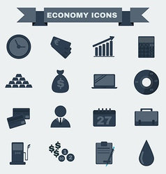 Black and white Economy icon set vector image