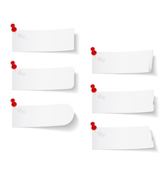 Blank White Papers with Push Pins vector image