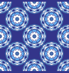 blue seamless ceramic tile design pattern vector image