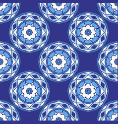 blue seamless ceramic tile design pattern vector image