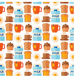 breakfast healthy food meal icons seamless pattern vector image