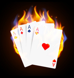 burning casino poker cards online casino and vector image