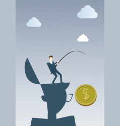 business man hold coin with fishing tackle money vector image