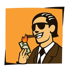 Businessman lights a cigar with dollar vector