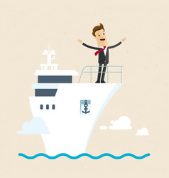 businessman standing on the deck of a ship vector image