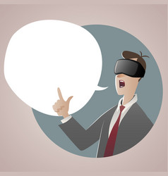 businessman wearing glasses 3d virtual reality vector image