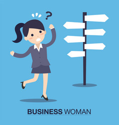 Businesswoman front of a choice vector