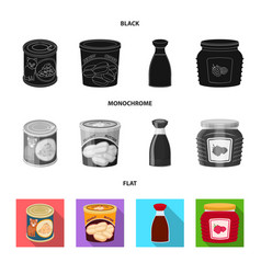 Can and food logo set of vector