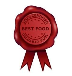 Certified Best Food Wax Seal vector image