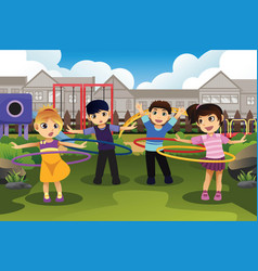 Children playing hula hoop in the park vector
