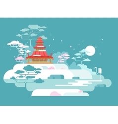 China painted landscape vector image